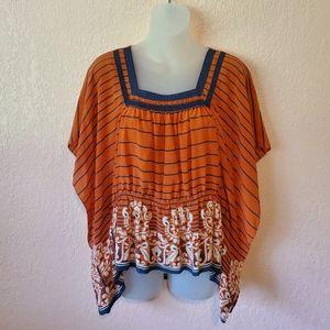 Anthropologie Edme & Esyllte Orange Silk Blouse